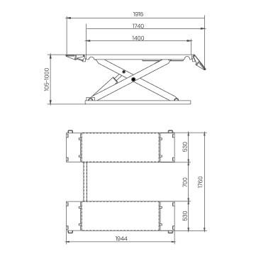Elevador-de-taller-damarl-DM3.0MV-DIBUJO-TECNICO