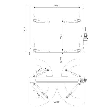 Elevador-de-taller-damarl-DM3.5T-DIBUJO-TECNICO