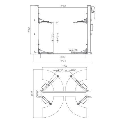 Elevador-de-taller-damarl-DM4.0T-2-DIBUJO-TECNICO