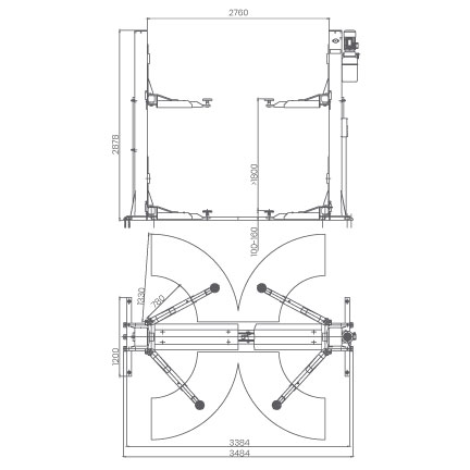 Elevador-de-taller-damarl-DM4.0T-DIBUJO-TECNICO
