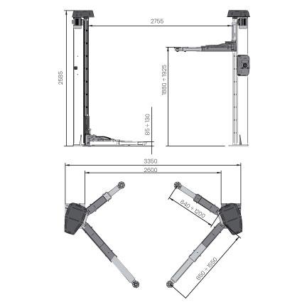 Elevador-de-taller-damarl-DM4.0TS-DIBUJO-TECNICO