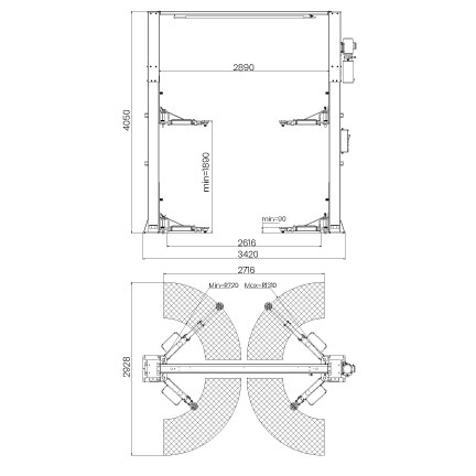 Elevador-de-taller-damarl-DM4.0T_SB2-DIBUJO-TECNICO