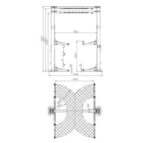 Elevador-de-taller-damarl-DM6.0T_SB2H-DIBUJO-TECNICO